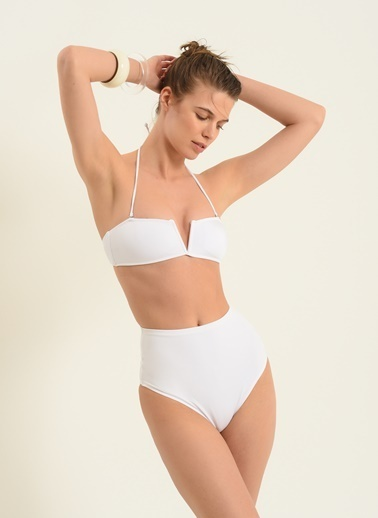 Morhipo Beach Kadın V Kesim Bikini MBKSS21BK0044 Beyaz